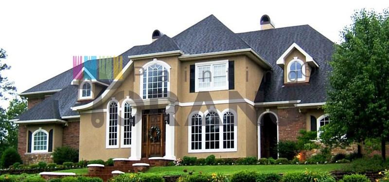 شماتیکی از نمای ساختمان حاوی پوشش رنگ نما ساختمانی